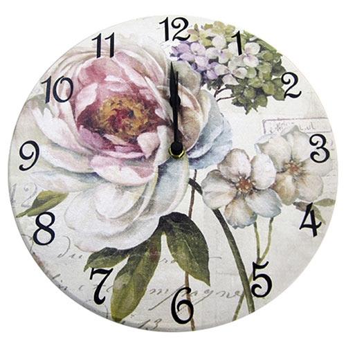 Relógio de Parede Flor Hortência Rosa em Madeira MDF - 28 cm