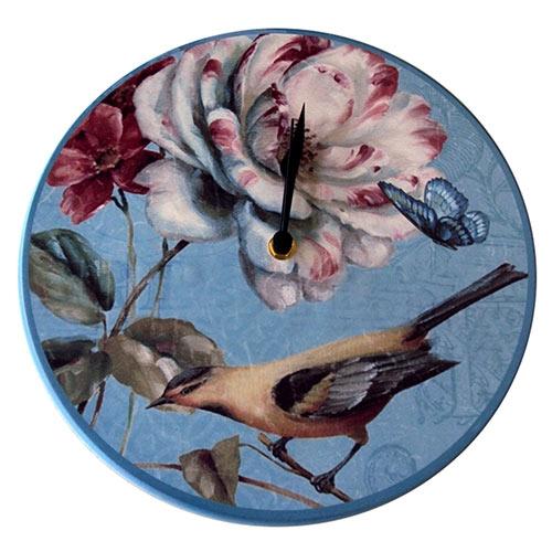 Relógio de Parede Flor Pássaro e Borboleta em Madeira MDF - 28 cm
