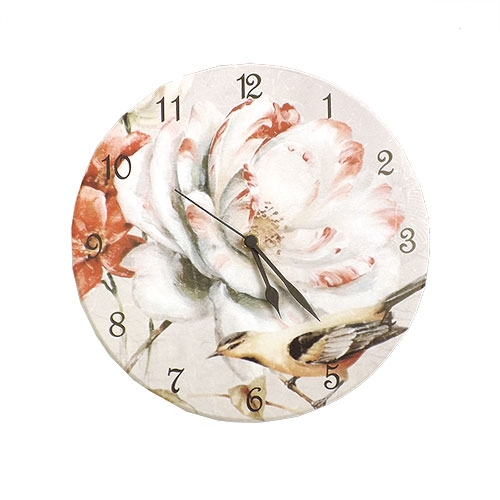 Relógio de Parede Flor e Pássaro - Em MDF - 28 cm