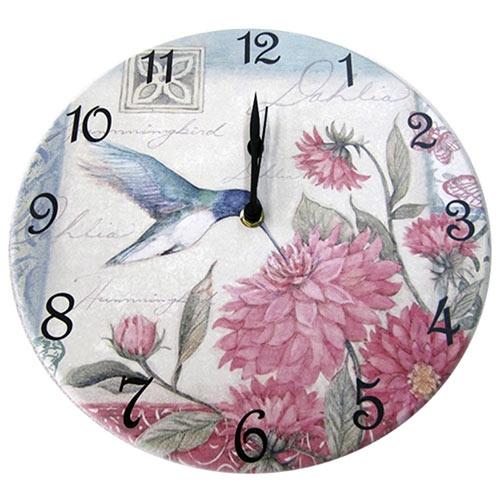 Relógio de Parede Floral Beija-Flor em Madeira MDF - 28 cm