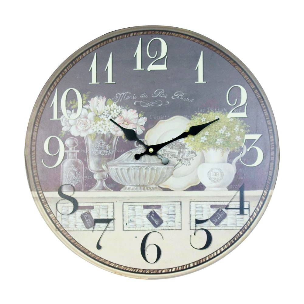 Relógio de Parede Flores Oldway em MDF - 40x2cm