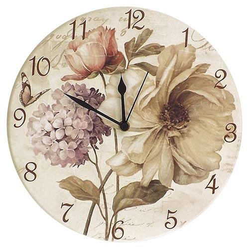 Relógio de Parede Flores Vintage em Madeira MDF - 28 cm