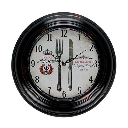 Relógio de Parede France Cutlery em Metal - 32x4,5 cm