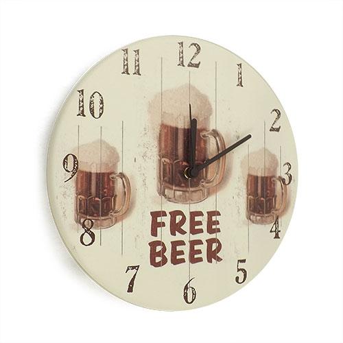 Relógio de Parede Free Beer em Madeira MDF - 28 cm