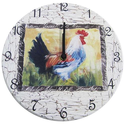 Relógio de Parede Galo Madeira em Madeira MDF - 28 cm