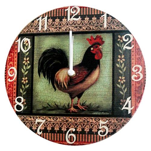 Relógio de Parede Galo Patchwork em Madeira MDF - 28 cm