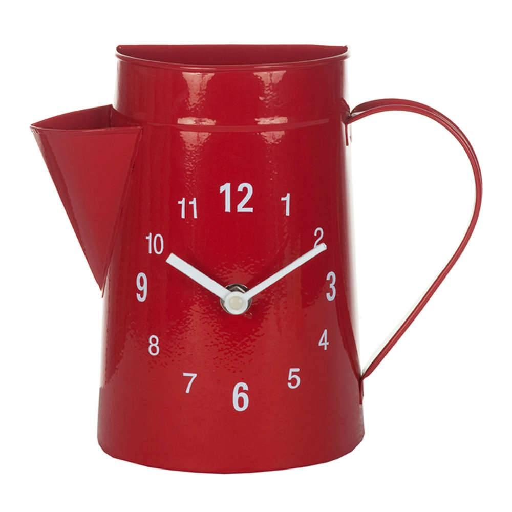 Relógio de Parede Garden Bule Vermelho em Metal - Urban - 21,5x19 cm