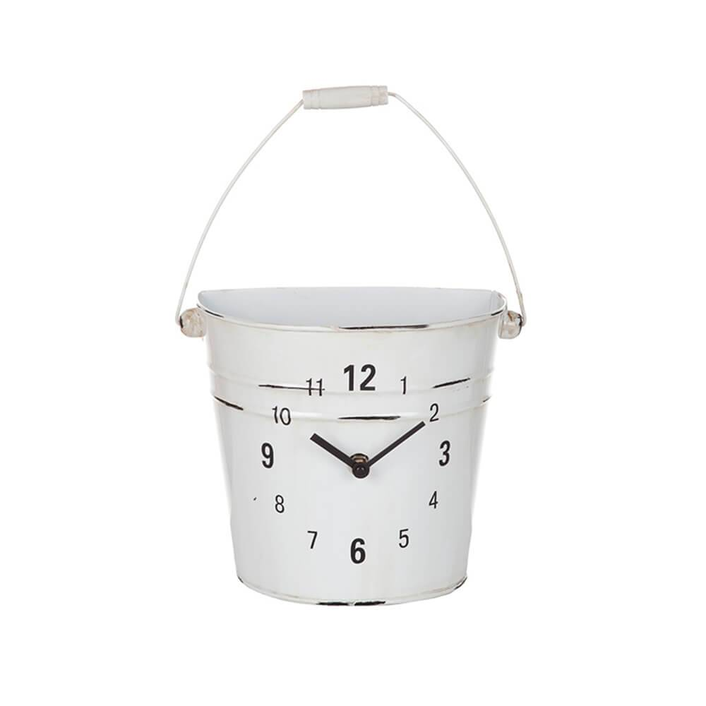 Relógio de Parede Garden Vaso Branco em Metal - Urban - 20x17 cm