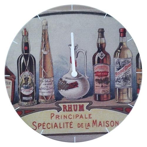 Relógio de Parede Garrafas de Rhum em Madeira MDF - 28 cm