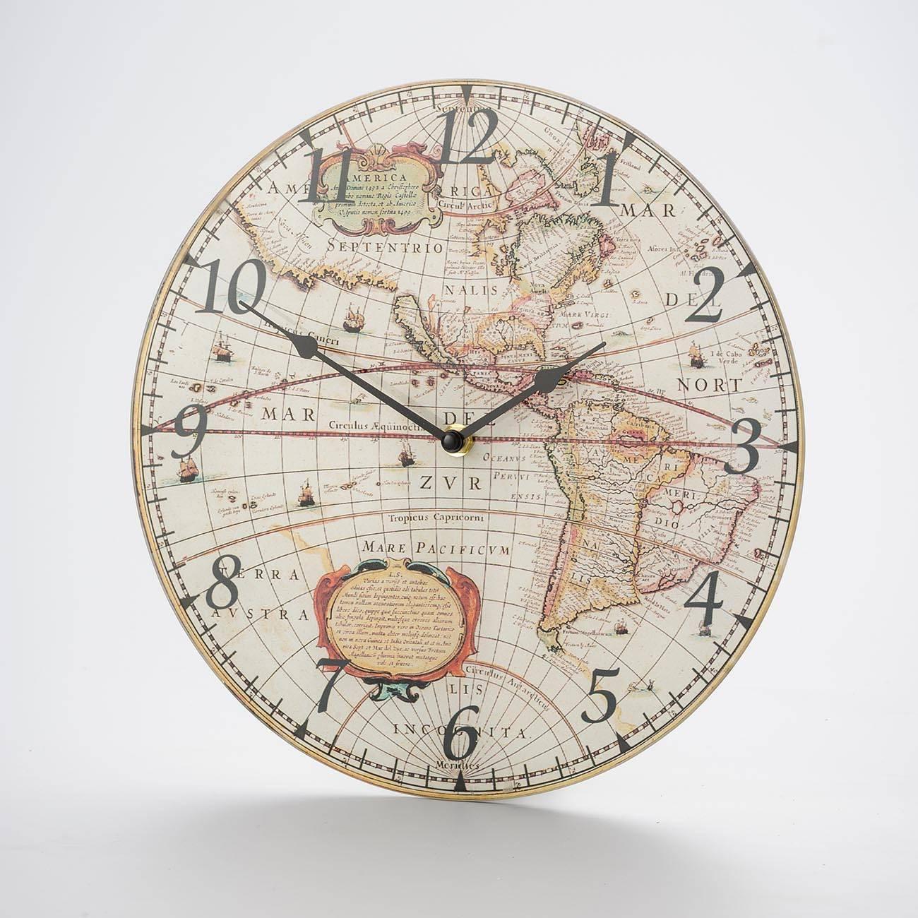 Relógio de Parede Globo América em Madeira - Prestige - 30 cm