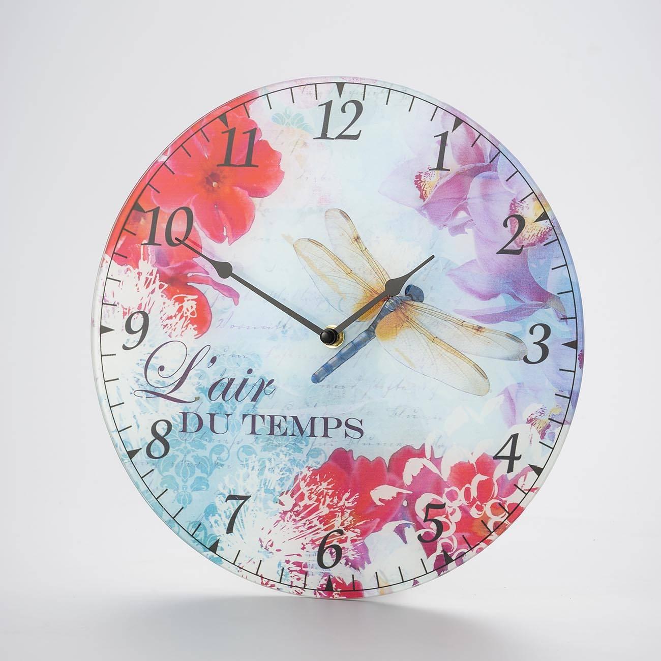 Relógio de Parede Libélula e Flores Multicolorido em Madeira - Prestige - 30 cm