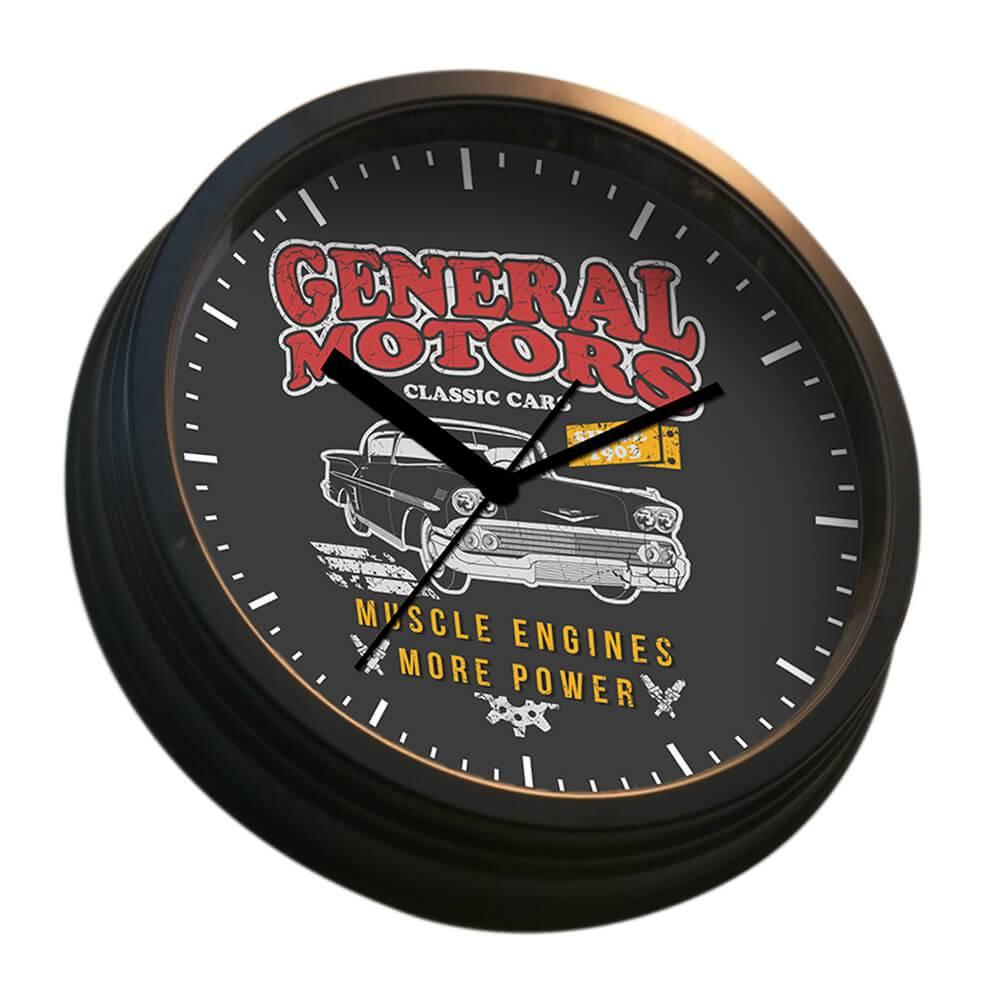 Relógio de Parede GM Bel Air Car Double Light Preto em Aço - Urban - 30,4x6,8