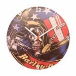 Relógio de Parede Harley Caveira com Capacete em Vinil