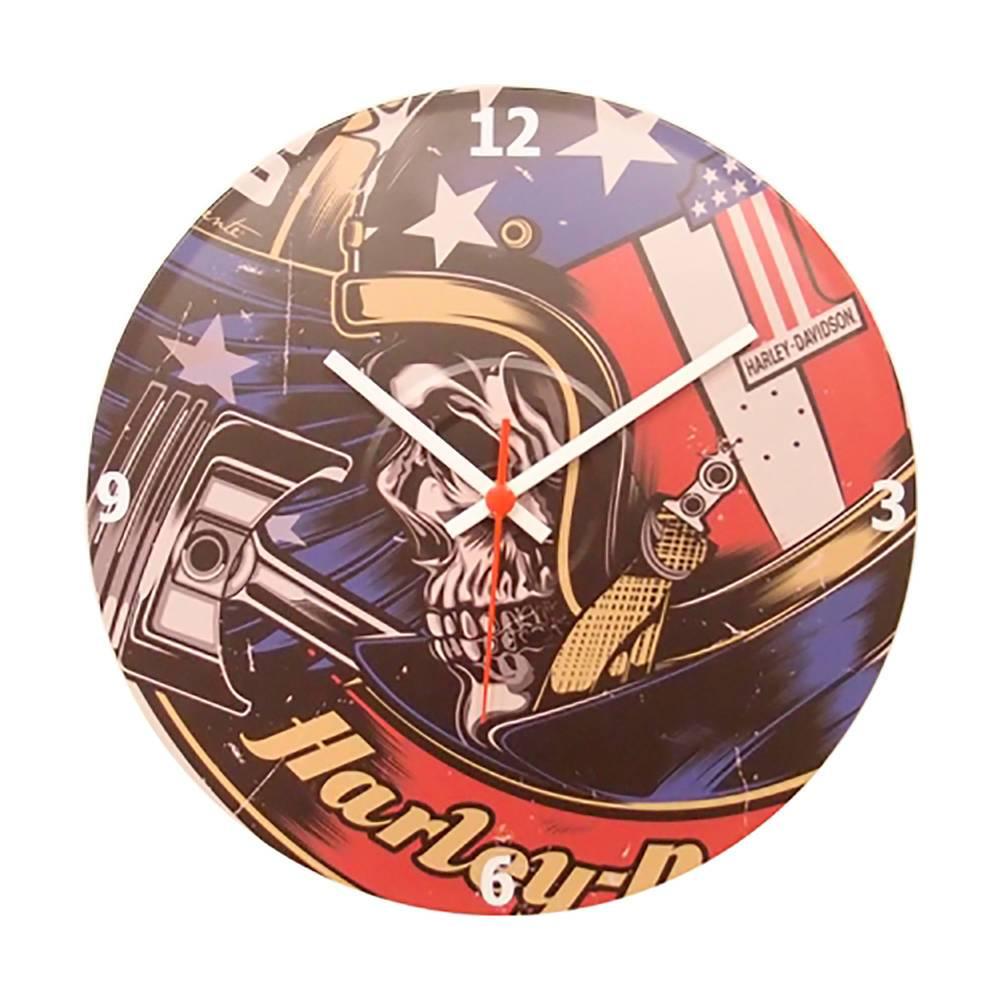 Relógio de Parede Harley Caveira com Capacete Multicolorido em Vinil - 30x30 cm