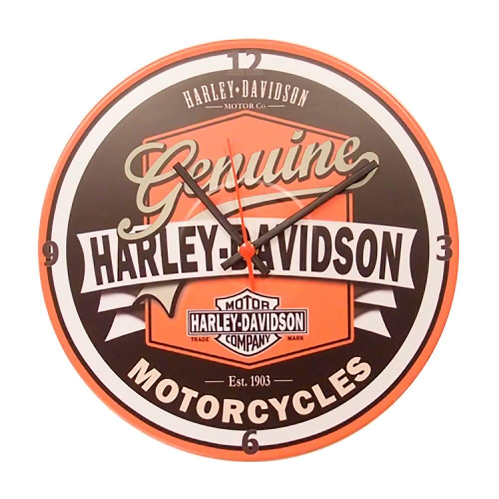 Relógio de Parede Harley Davidson Laranja em Vinil - 30x30 cm