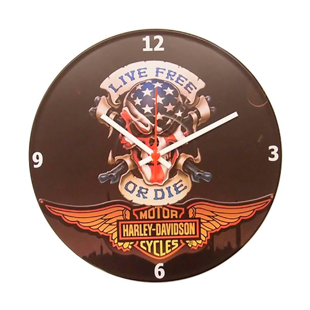 Relógio de Parede Harley Viva Livre ou Morra Fundo Preto em Vinil - 30x30 cm