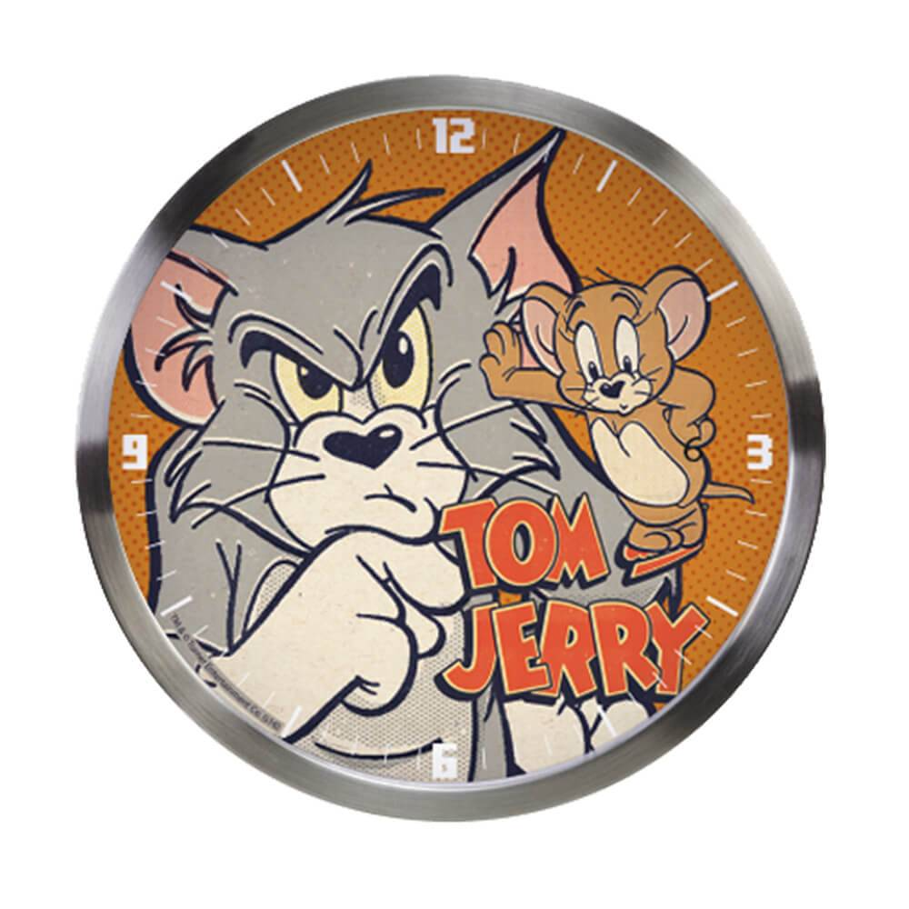 Relógio de Parede HB Tom And Jerry Mad Cat And Mouse Cinza - Urban - 30x4,2 cm