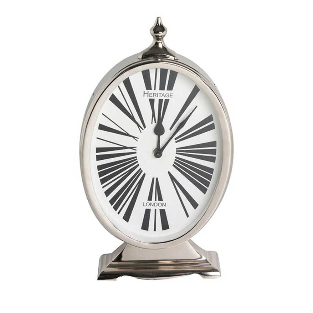 Relógio de Parede Heritage London Preto e Branco em Metal Cromado - 35x17 cm