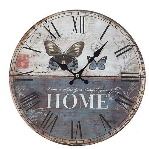 Rélogio de Parede Home Borboletas Oldway - Em MDF - 29 cm