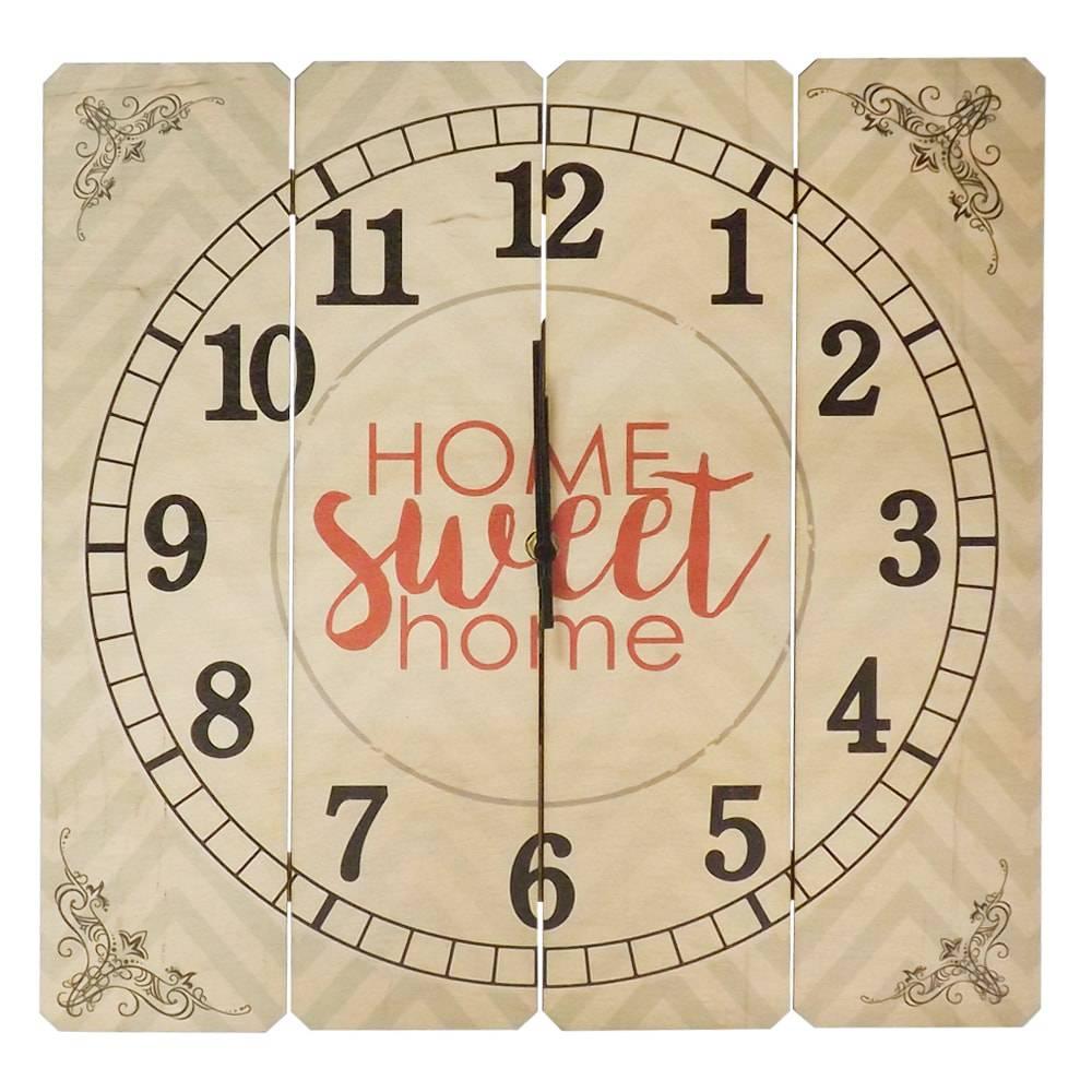 Relógio de Parede Home Sweet Home em Madeira MDF - 40 cm