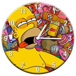 Relógio de Parede Homer Deitado Sob a Comida em MDF - 28 cm R$ 129,95 R$ 93,95 1x de R$ 84,56 sem juros