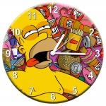 Relógio de Parede Homer Deitado Sob a Comida em MDF - 28 cm