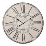Relógio de Parede Hotel de Paris Bege em Madeira - 80x80 cm