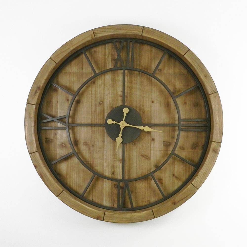 Relógio de Parede Industrial Glam Marrom/Preto em Madeira - 100x9 cm