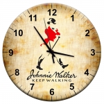 Relógio de Parede Johnnie Walker Keep Walking Bege em MDF - 28 cm