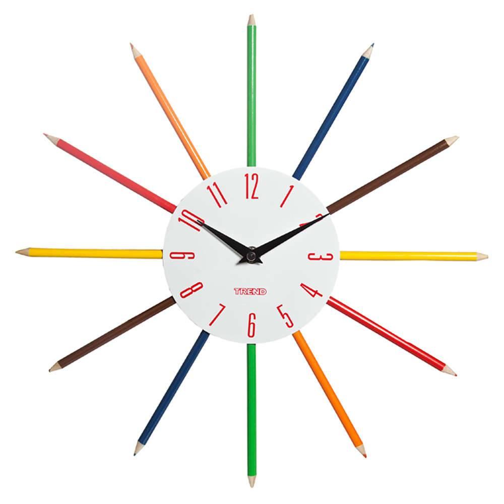 Relógio de Parede Lápis de Cor Números Vermelhos em Metal - Urban - 38 cm