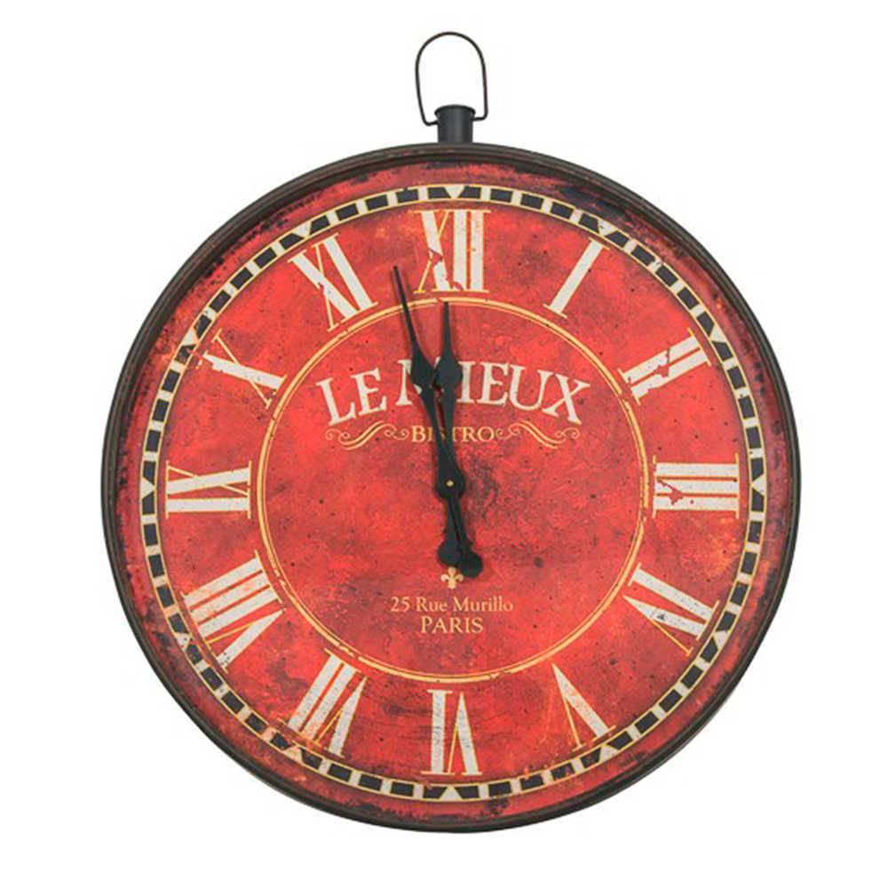 Relógio de Parede Le Mieux Vermelho Pátina em Metal - 88 cm