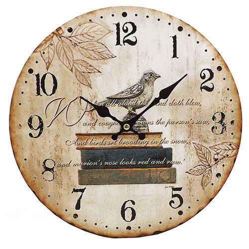 Relógio de Parede Livro e Passáro Oldway - Em MDF- 29 cm