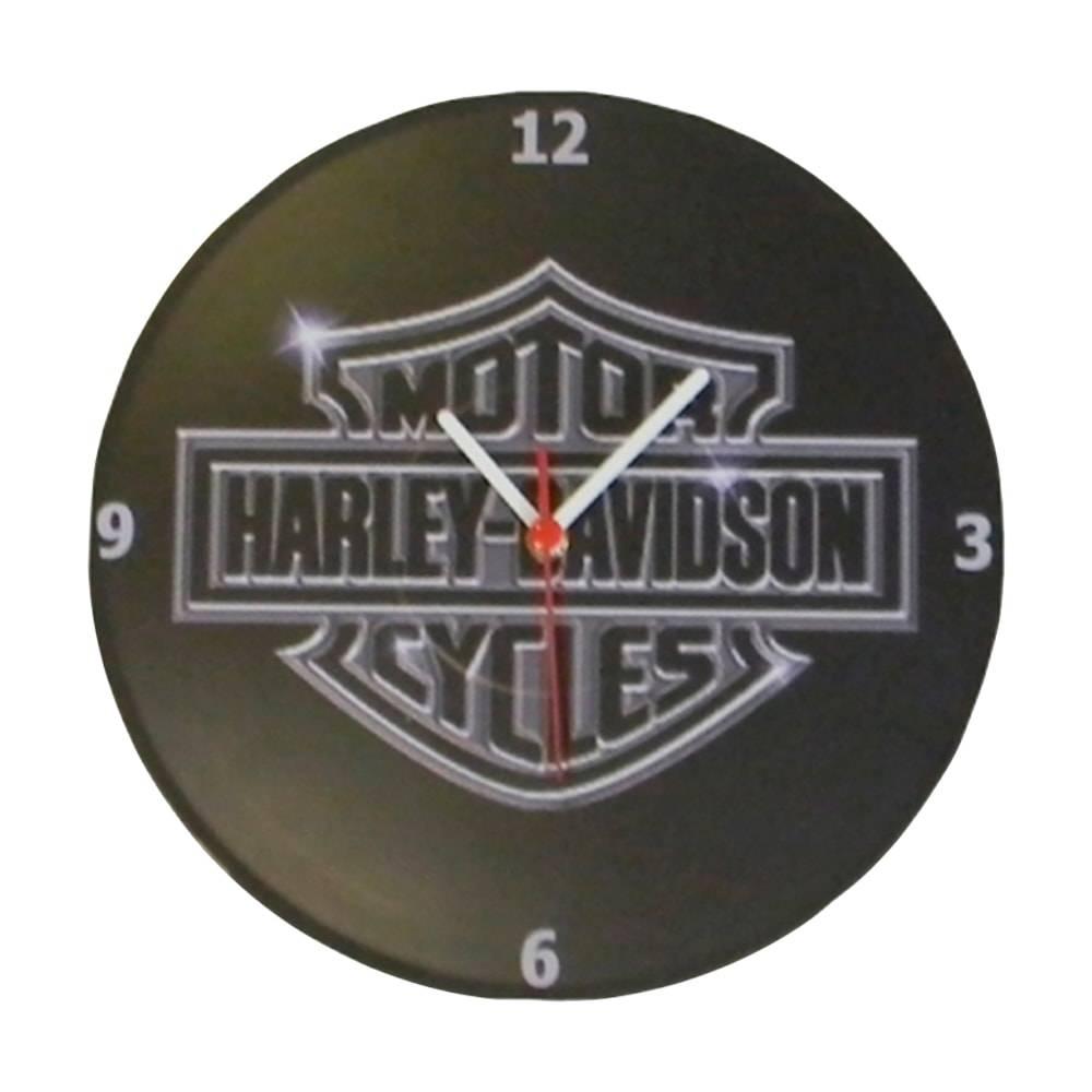 Relógio de Parede Logo Harley Davidson Preto em Vinil - 30x30 cm