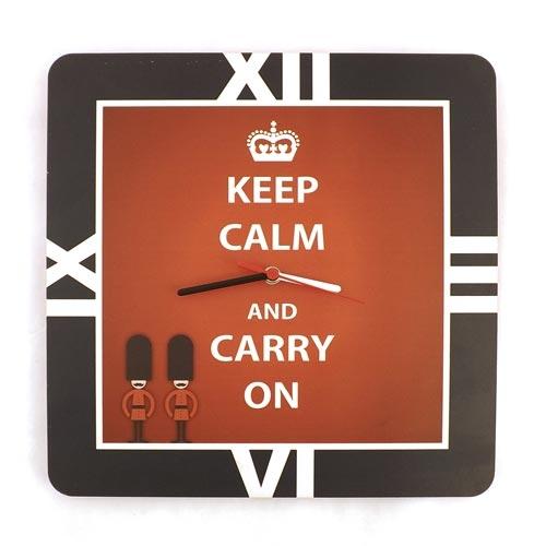 Relógio de Parede London Forever Keep Calm Carpe Diem - 35x35cm