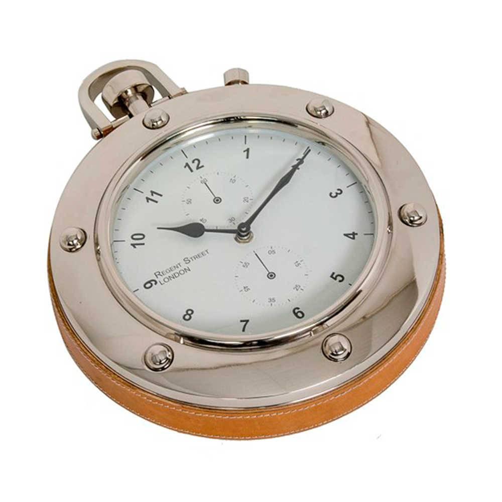 Relógio de Parede London Redondo em Metal Cromado e Couro Natural - 35x27 cm