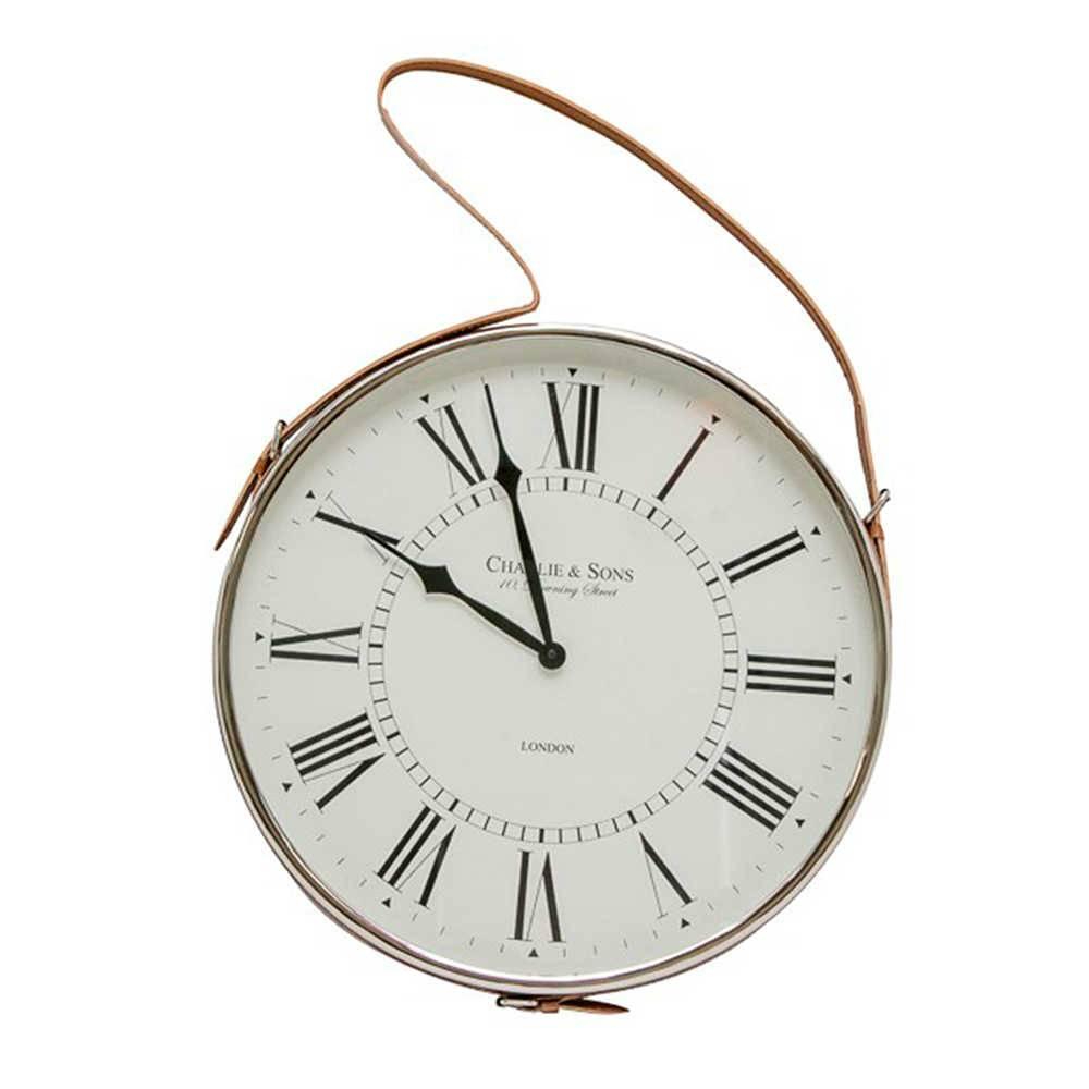 Relógio de Parede Londres Números Romanos em Metal Cromado e Alça de Couro - 62x30 cm