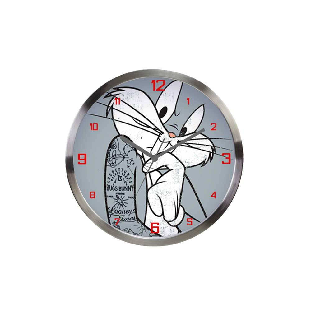 Relógio de Parede Looney Tunes Bug Bunny Concerned Cinza em Alumínio - Urban - 30x4,2 cm