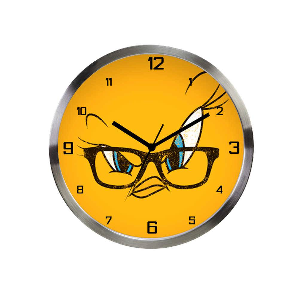 Relógio de Parede Looney Tunes Tweety Big Face Amarelo em Alumínio - Urban - 30x4,2 cm