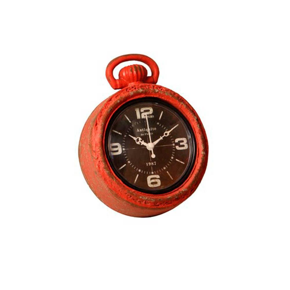 Relógio de Parede Louis Bréguet Vermelho Envelhecido em Metal - 18x14 cm