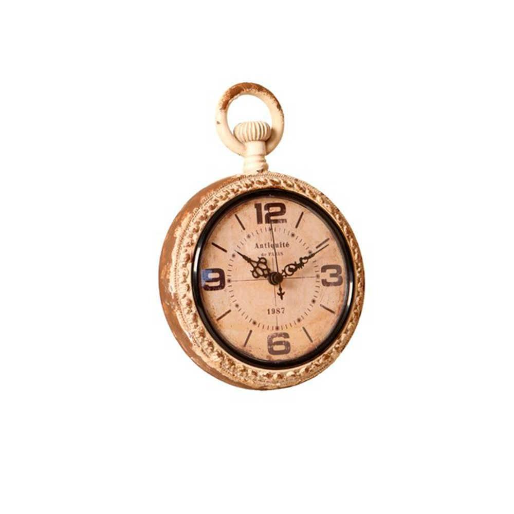 Relógio de Parede Louvre Marrom e Bege Envelhecido em Metal - 23x16 cm