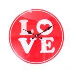 Relógio de Parede Love Vermelho com Borda Branca em Vidro - 30x30 cm