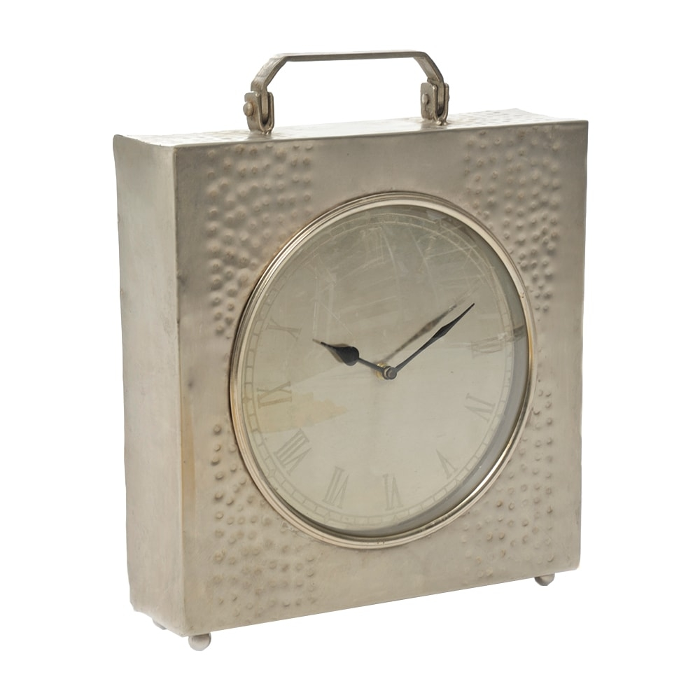 Relógio de Parede Maleta Prata em Metal - 38x34 cm