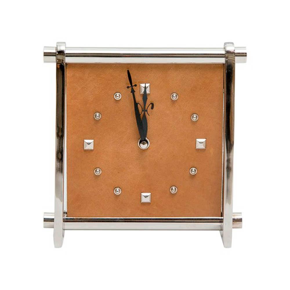 Relógio de Parede Médio Quadrado Marrom e Cromado em Couro Natural e Metal - 20x20 cm