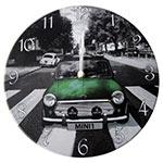 Relógio de Parede Mini Cooper Verde em Madeira MDF - 28 cm
