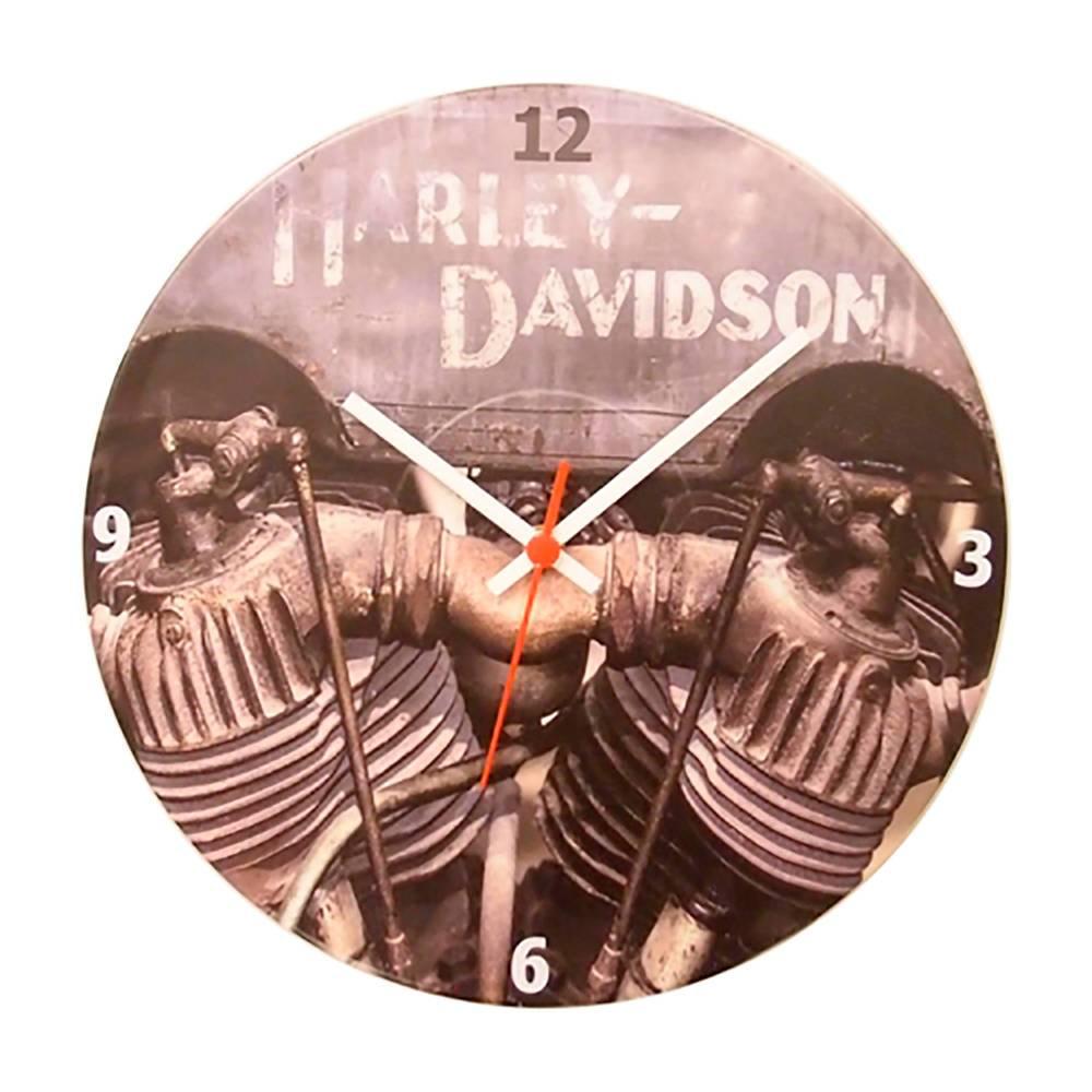 Relógio de Parede Motor Harley Davidson Vintage Marrom em Vinil - 30x30 cm