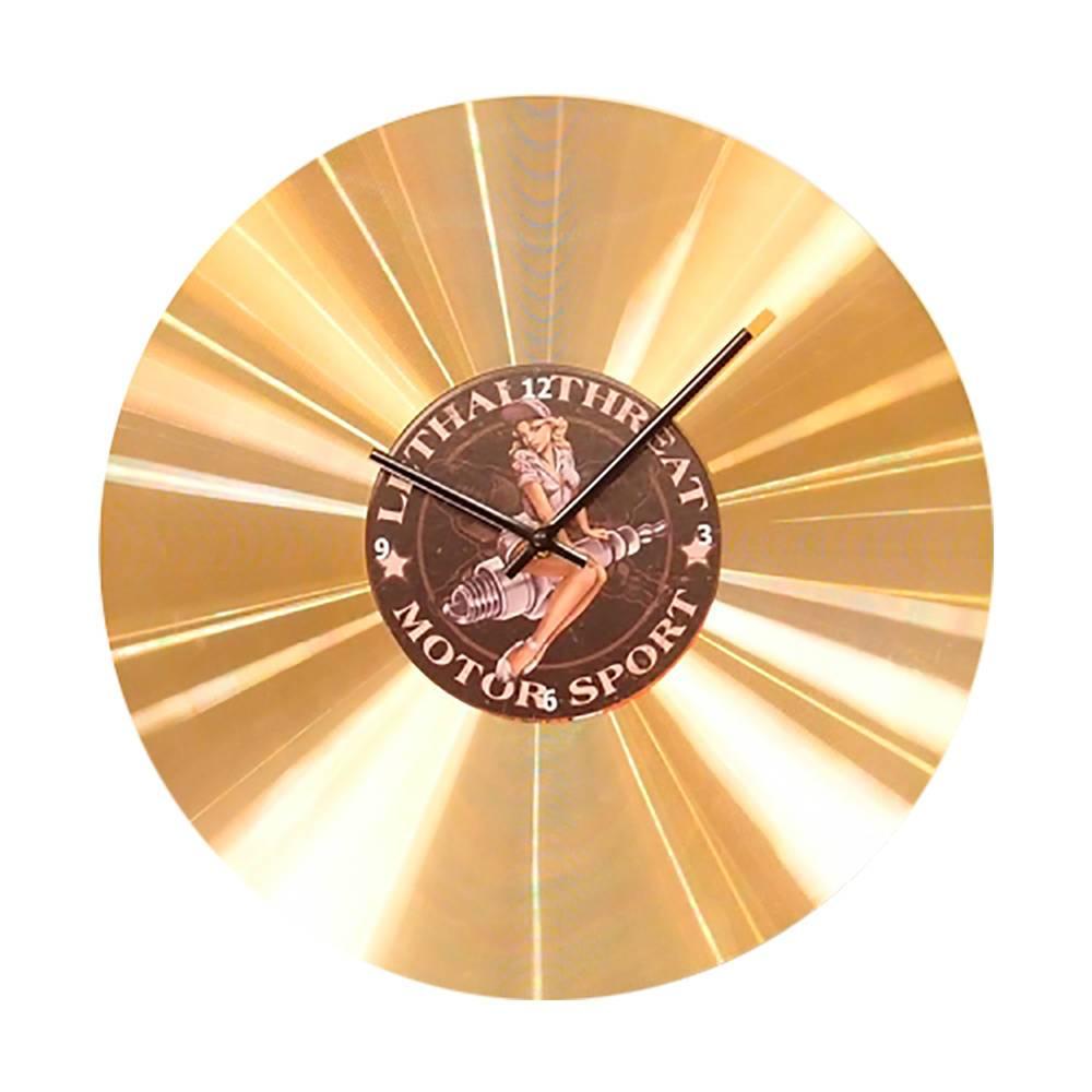Relógio de Parede Motor Sport Dourado em Vinil - 35x35 cm