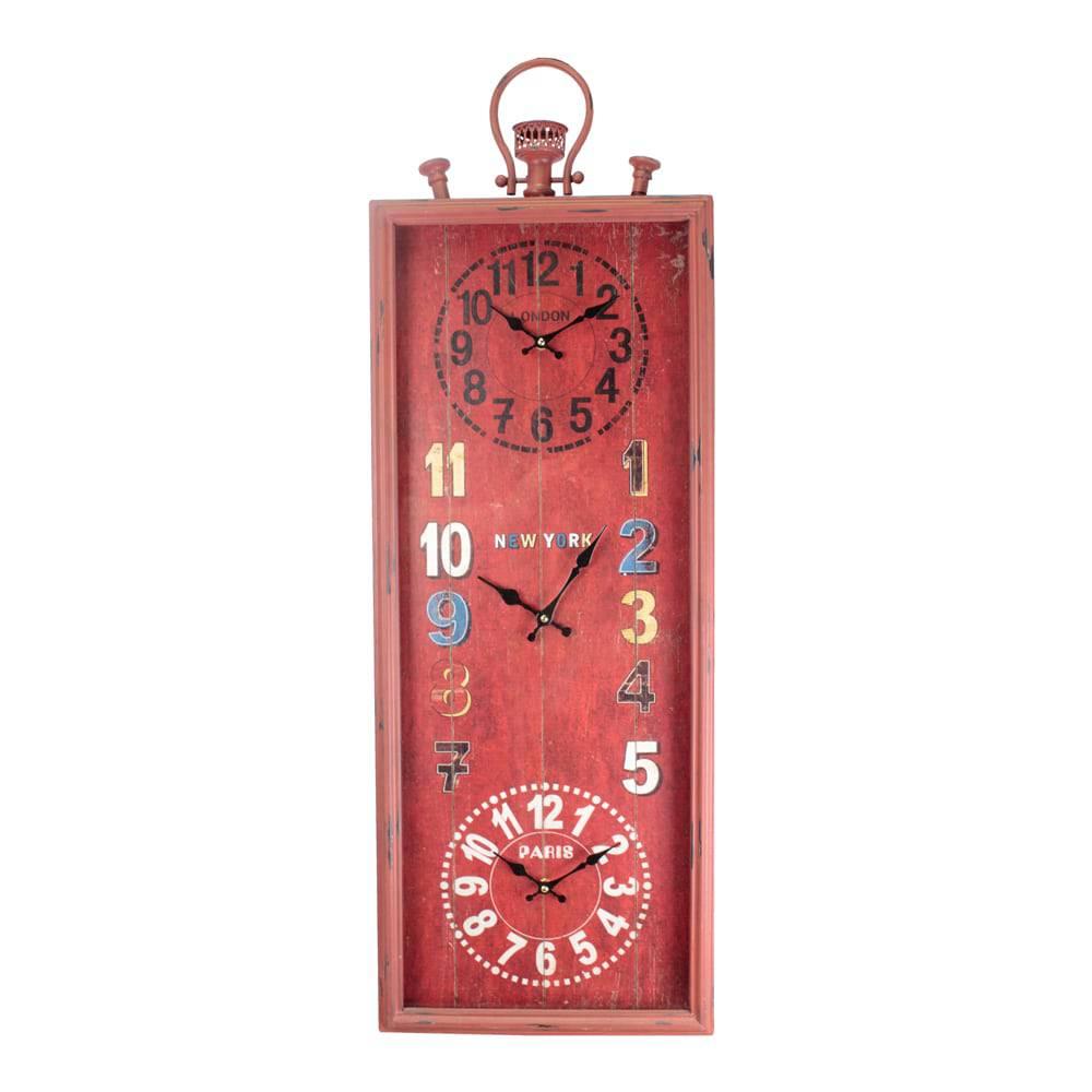Relógio de Parede Mundial Tripred Vermelho Oldway - 101x35x7 cm