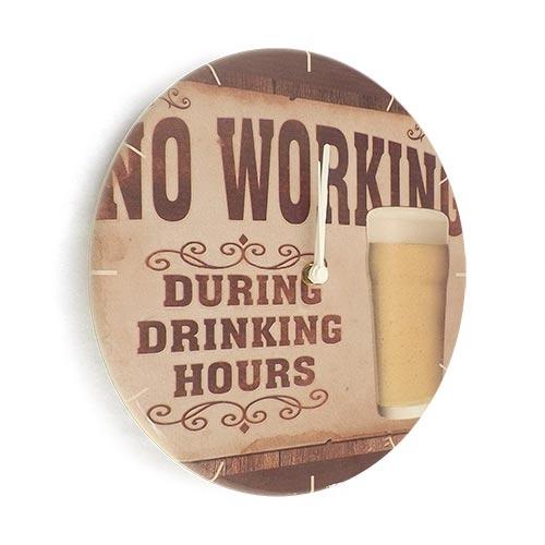 Relógio de Parede No Working During Drinking Hours em Madeira MDF - 28 cm