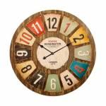 Relógio de Parede Números Coloridos Oldway em Madeira e Metal - 80x7cm