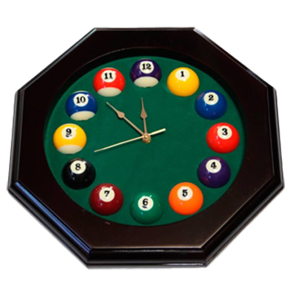 Relógio de Parede Oitavado Bolas de Bilhar em Madeira - 40x5 cm
